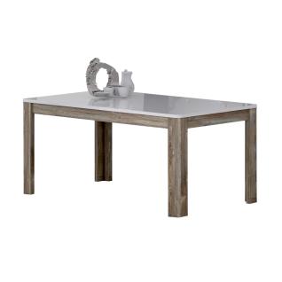 Forte Babila Esstisch FLOT16 ca. 160/207 x 90 cm für Ihr Esszimmer Vierfußtisch mit Auszugsfunktion Tischplatte Weiß Hochglanz Gestell Picea Kiefer Nachbildung