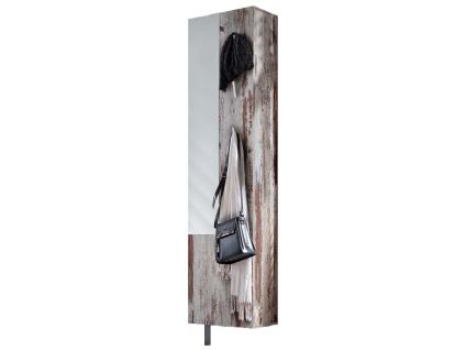 Mäusbacher Woody Schuhschrank 0970_Sp drehbar mit Spiegel 3 Kleiderhaken und 10 verstellbaren Einlegeböden für Ihren Flur Dekor wählbar