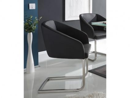 MWA Aktuell Stuhl London Polsterstuhl mit Armlehnen, Bezug aus Kunstleder schwarz und Schwinggestell Edelstahl