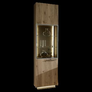 Schröder Kitzalm Alpenflair Wohnen Standelement 6210-NAT bestehend aus einer Tür mit vier Holzböden sowie Vitrinenausschnitt mit zwei Glasböden
