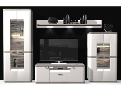 IDEAL-Möbel Wohnkombination 16 Toronto Wohnwand mit Vitrine Hängeschrank und TV-Element Anbauwand für Wohnzimmer Ausführung wählbar