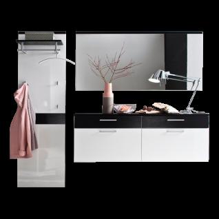 Wittenbreder Come In Garderobenkombination Nr. 06 komplette Garderobe für Ihren Flur und Eingangsbereich 3-teilige Vorschlagskombination in Weiß Lack Hochglanz und Eiche Tabak Furnier mit Standardgriff matt Metallteile in matt