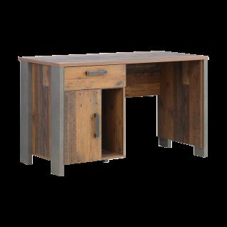 Forte Clif Jugendzimmer Schreibtisch CLFB211 Korpus Old Wood Vintage  Nachbildung Kombiniert Mit Betonoptik Dunkelgrau