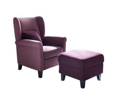 Carina Ohrensessel Malte Sessel Type 9048 in verschiedenen Bezügen optional mit beiger Kontrastnaht und Bucheholzfüße in unterschiedlichen Beiztönen wahlweise mit Hocker Type 9050