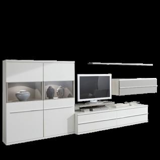 Loddenkemper Kito Wohnwand 9775 in Lack Weiß mit Absetzung in Lack Soft Grau für Ihr Wohnzimmer mit Highboard Unterteil Hängeschrank und Wandboard
