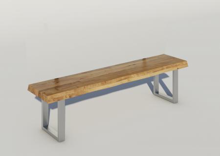 ELFO Baumkantenbank in Wildeiche geölt, sehr rustikal, Gestell chrom- oder edelstahlfarben, Sitzbank für Esszimmer oder Wohnzimmer