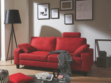 Candy Einzelsofa Coast im roten Microfaserbezug 2, 5-Sitzer mit Schlaffunktion