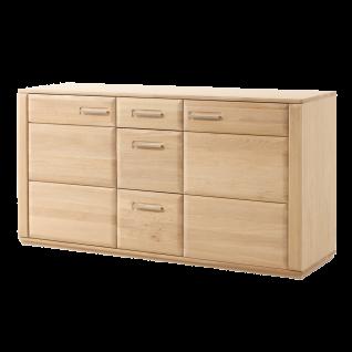 MCA furniture Sideboard Sena Art.Nr. EB200T01 Front Eiche Bianco Massivholz geölt mit durchgehenden Lamellen Korpus Eiche Bianco furniert Kommode für Ihr Wohnzimmer oder Esszimmer