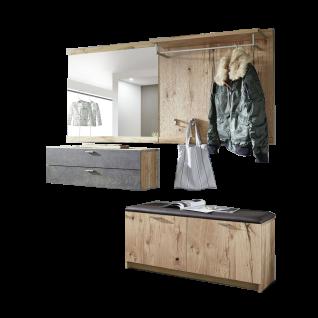 Schröder Kitzalm-Living Dielen Kombination D001 vierteilige Garderobenkombination in Salzkammergut Alteiche furniert Garderobe in vier Akzenten und mit Beleuchtung wählbar