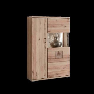 Ideal-Möbel Kansas Highboard 50 in Alteiche teilmassiv mit Hirnholz-Absetzung mit einer Holztür und einer Glastür
