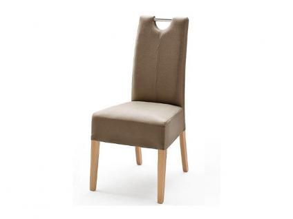 MCA Direkt Stuhl Enya im Lederlook cappuccino 2er Set Polsterstuhl für Wohnzimmer und Esszimmer Ausführung 4 Fuß Massivholzgestell und Chromgriff