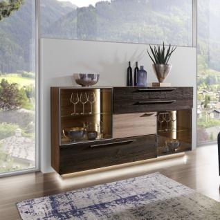 Schröder Kitzalm Alpenflair Wohnen Sideboard 4833-AAH mit 3 Türen sowie 2 Schubkästen und 2 Vitrinenausschnitten mit je einem Glasboden - Vorschau 2