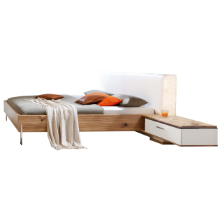 Thielemeyer Loft Komfort-Liegenbett mit Polsterkopfteil in Echtleder weiß Ausführung Bettanlage Eiche Massivholz Liegefläche wählbar optional mit Hängekonsolen rechts und links mit weißem Colorglas mit Vollauszug