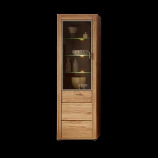 Wohn-Concept Opal Vitrine 4202HH03 in Wildeiche teilmassiv mit zwei Türen inkl. LED-Beleuchtung für Wohnzimmer oder Esszimmer