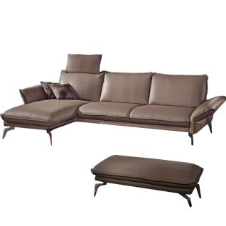 K+W Polstermöbel Ecksofa Magellan 7265 mit einer eleganten Hockerbank und einer Funktionskopfstütze für den perfekten SItzkomfort in einem einmaligen Echtlederbezug Bronco in der Farbe 86 smoke mit einem modernen und einmaligen verchromten Blitzfuß