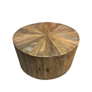 Sit Möbel ROMANTEAKA Couchtisch rund Teakholz mit 2 Türen und viel Stauraum