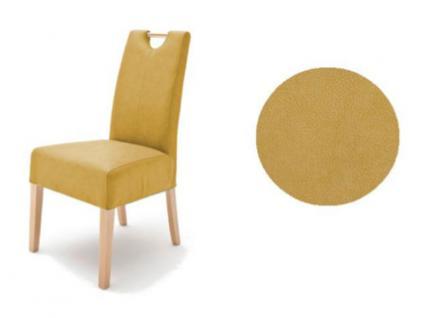 MCA Direkt Stuhl Elida curryfarbener Bezug Argentina 2er Set Polsterstuhl für Wohnzimmer und Esszimmer Ausführung 4 Fuß Massivholzgestell und Griff wählbar