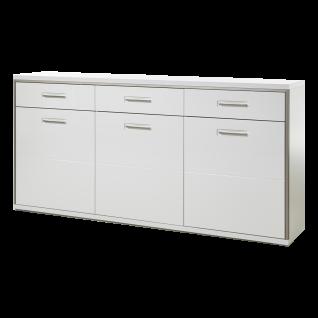 MCA furniture Sideboard Trento Art. Nr. TRE83T01 Front Hochglanz weiß tiefzieh Nachbildung Korpus weiß Nachbildung mit edelstahlfarbenem Metallrahmen Schrank für Ihr Esszimmer