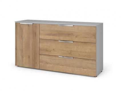 Nolte Möbel concept me 700 Kommode mit Holz-Oberplatte in Breite 150 cm und Höhe 79 cm 1-türig mit 3 Schubkästen Korpus und Front sowie Griffe wählbar