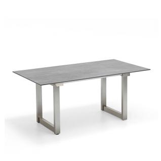 Niehoff Garden Nando ausziehbarer Gartentisch G133 mit HPL-Tischplatte und mit Vierkantkufenin Edelstahl gebürstet Klappeinlage ca. 100 cm für Ihren Garten Größe und Farbe wählbar