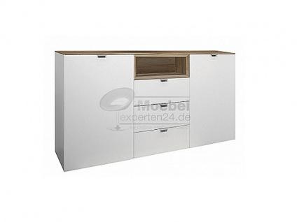 Mäusbacher Detroit Sideboard 0770-SB_23 Sideboard mit offenen Fach für Ihr Wohnzimmer und Esszimmer zwei Türen mit Dämpfung zwei Einlegeböden drei Schubkästen mit Selbsteinzug und ein offenes Fach Beleuchtung wählbar