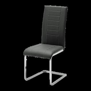 Reality Ruth 3000 R5088-02 Schwingstuhl im 4er Set in der Ausführung Kunstleder schwarz Gestell verchromt für Ihr Esszimmer oder Wohnzimmer