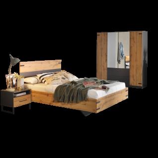 Rauch Packs Butte Schlafzimmer 3- teilig bestehend aus Bett Nachttisch und Drehtürenschrank Korpusausführugn grau-mteallic Frontausführung Dekor- Druck Eiche Wotan Liegefläche wählbar optional mit Kommode