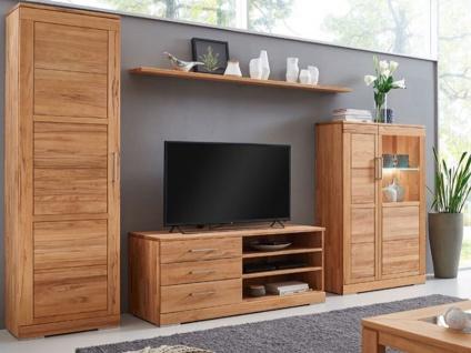 Wimmer Casera Wohnwand 5-teilig Massivholz naturbelassen geölt Holzausführung Griffausführung Ausführung der Einlegeböden Anordnung und Beleuchtung wählbar für Ihr Wohnzimmer oder Esszimmer