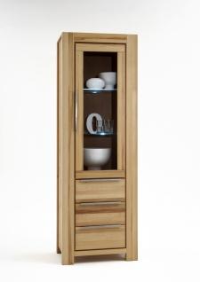 Elfo-Möbel Nena Vitrine 6661 in Kernbuche Massivholz geölt mit 1 Tür mit Glaseinsatz und 3 Schubkästen stilvoller Stauraum für Wohnzimmer oder Esszimmer