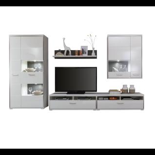 MCA furniture Wohnkombination 4 Trento Art. Nr. TRE83W04 Front weiß Hochglanz tiefzieh Nachbildung Korpus weiß Nachbildung edelstahfarbige Metallrahmen Beleuchtung wählbar Schrankwand für Ihr Wohnzimmer oder Gästezimmer