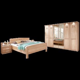 Wiemann Cortina Schlafzimmerset in Korpus und Front Eiche mit Drehtürenschrank beleuchteter Kranzleiste Komfortbett Nachtschränkepaar