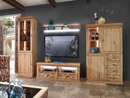 Schröder Mallorca Home Kombination K010 4-teilige Wohnkombination für Wohnzimmer Wohnwand mit Vitrine TV-Unterteil Wandboard und Highboard Beleuchtung wählbar