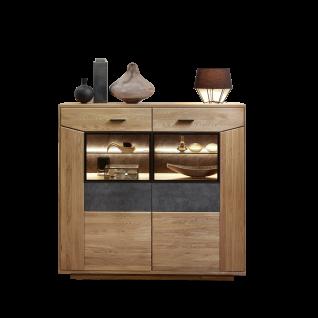 Wohn-Concept Gerano Highboard 4565HH22 mit zwei Schubkästen und zwei Türen in Wildeiche teilmassiv mit Korpus aus Massivholz und Frontabsetzungen in Keramik anthrazit Anrichte mit viel Stauraum für Ihr Wohnzimmer oder Esszimmer
