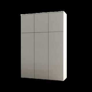 Loddenkemper Minos Highboard 7291 in Lack Kristall Grau matt mit sechs Türen für Wohnzimmer und Esszimmer