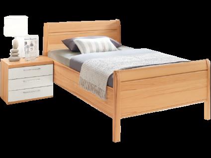 Disselkamp Linea Plus - Comfort-V Bett Luxushöhe mit Stollen Kopfteil Liegefläche und Nachtkonsole wählbar Korpus in Kernbuche Farbabsetzung Hochglanz Weiß