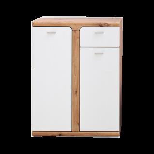 MCA furniture Torino Kommode TOR78T86 Front Weiß matt tiefgezogen Absetzung Balkeneiche tiefgezogen Korpus Balkeneiche Melamin Nachbildung