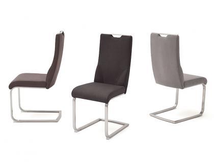 MCA furniture Giulia C 2er Set Freischwinger mit Griffloch Gestell Flachrohr Edelstahl gebürstet Bezug wählbar Farbe wählbar für Esszimmer und Küche