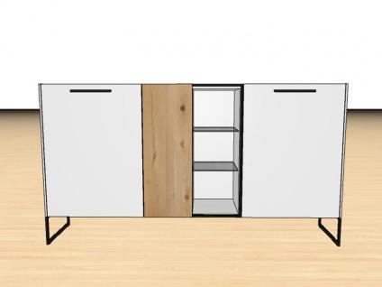 Gwinner Blogg SB5-6 oder SB5-6SV Sideboard mit Gestell dreitürig mit Vitrinenausschnitt Lack-matt- und Akzentausführung wählbar