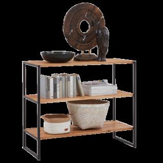 Niehoff Atelier 2er Regal 5804-39-000 in Charakter-Eiche Massivholz geölt und gebürstet mit Leiterwangen in Stahl schwarz pulverbeschichtet