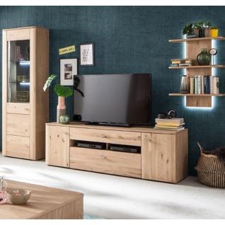 MCA Furniture Buffalo BUF52W02 Wohnkombination 2 für Ihr Wohnzimmer 3-teilige Wohnwand Front Balkeneiche Bianco Korpus Eiche Bianco Melamin Nachbildung - Vorschau 2