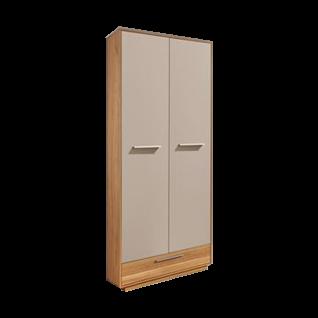Voss Möbel Loveno Dielenschrank mit 2 Türen 1 Schubkasten und 1 Kleiderstange Korpus teilmassiv Absetzung in Eiche Massivholz