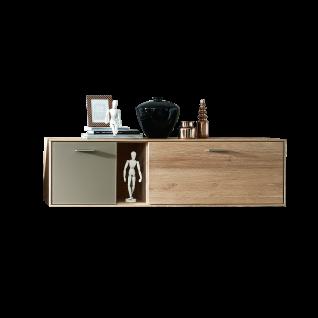 Wohn-Concept Topaz Hängeschrank 46 03 HM 10 in Wildeiche bianco Massivholz mit Absetzung in Glas Basalt Hängevitrine mit einer Tür einer Klappe und einem offenen Fach für Ihr Wohnzimmer oder Esszimemr LED-Beleuchtung wählbar