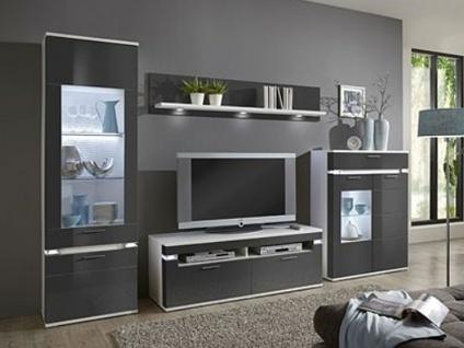 IDEAL-Möbel Boa Wohnkombination 34 Wohnwand vierteilig mit Vitrine Highboard Wandboard und TV-Element Anbauwand für Wohnzimmer Ausführung und Beleuchtung wählbar