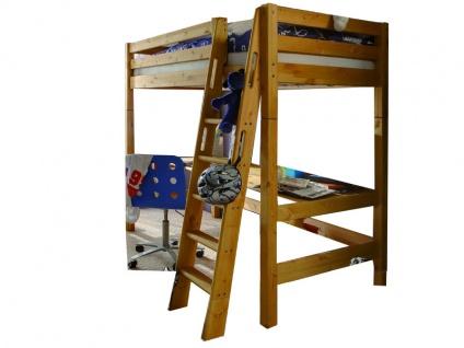 Infantil Infanskids Hochbett Massivholz Kiefer laugenfarbig inkl. Rollrost für Matratzenmaß ca. 90x200 cm mit Schreibtischplatte
