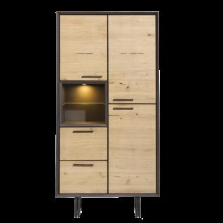 Habufa Hadios Hochschrank 39783 mit LED-Beleuchtung ca. 200 cm hoch Ausführung Eiche furniert Metallgestell schwarz