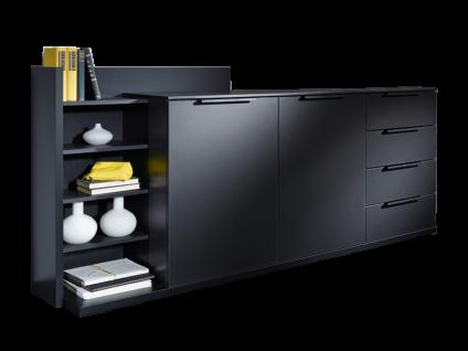 Rauch Black Linea Concept 20up Kommode mit 2 Türen und 4 Schubkästen Kommodenregal mit 4 Fachböden Korpus und Front in Dekor Schwarz matt Griffe in Schwarz