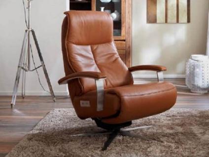 Hukla Sessel CA52, Variante F 2-motorisch im braunen Echtlederbezug mit Edelstahl Sternfuß, Metallarmteil mit Polsterauflage motorischer Kopfpolsterverstellung und manueller Lendenstütze