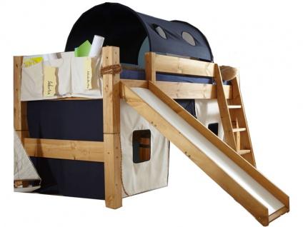 Infantil TOBYKIDS massives Halbhochbett mit Schrägleiter und Rutsche inklusive Rollrost Liegefläche 90 x 200 cm in Kiefer massiv weiss mit Vorhang-Set und Tunnel