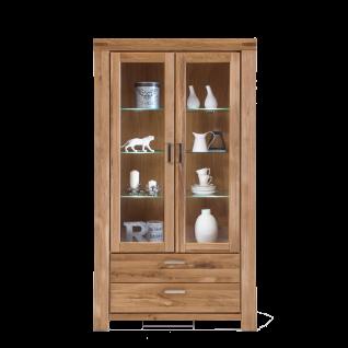 Elfo-Möbel Kira Vitrine 2863 mit 2 Schubkästen und 2 Türen mit Glaseinsatz 3 Glaseinlegeböden Wildeiche Massivholz geölt Glasschrank für Wohnzimmer oder Esszimmer