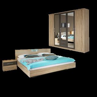 Rauch Packs Valence-Extra 2-teiliges Schlafzimmer bestehend aus Bettanlage mit 2 Nachttischen und Drehtürenschrank mit 3 Spiegeltüren Farbausführung Dekor-Druck Eiche Sonoma Absetzung lavagrau Griffausführung alufarben Liegefläche wählbar optional mit Kom